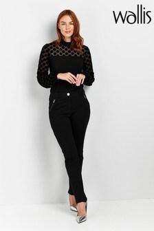 מכנסיים מבד פונטה של Wallis בשחור