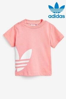 Розовая футболка для малышей с трилистником на боку adidas Originals