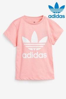 Розовая футболка с логотипом-трилистником adidas Originals Little Kids