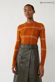 Warehouse Kariertes Pulloverkleid mit seitlichen Knöpfen, orange