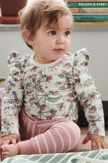 Polarn O. Pyret Natural Organic Cotton Floral Bodysuit