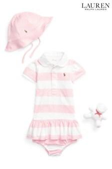Coffret cadeau robe Ralph Lauren rose et blanc à rayures