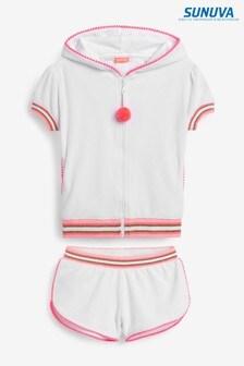 סט מכנסייםקצריםוקפוצ'וןמבד מגבת עם שרוולים קצריםבצבעלבן שלSunuva