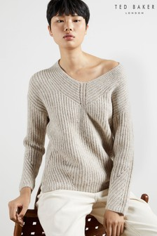 Ted Baker Rieliaa Oversized V-Neck Sweater
