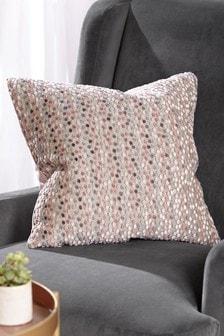 Blush PInk Velvet Spot Small Square Cushion