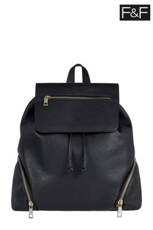 F&F Black Zip PU Backpack