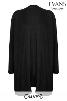 Evans Curve Black Ribbed Hem Cardigan