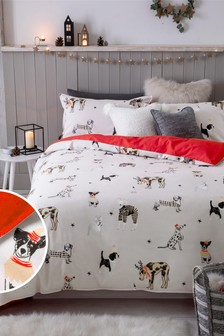 Natural 100% Brushed Cotton Festive Dogs Duvet Cover and Pillowcase Set