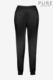 Pure Collection Black Satin Side Stripe Track Joggers