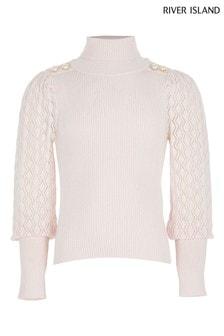 River Island Pink Light Puff Sleeve Button Roll Neck Top