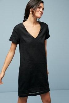 Robe t-shirt en lin mélangé
