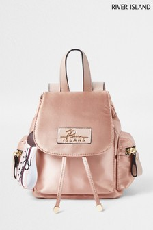 River Island Pink Light Satin Backpack