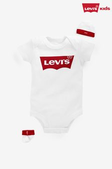 Levi's® Kids White Classic Batwing Infant Hat, Bodysuit And Booties Set