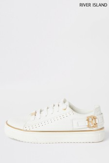 River Island White Buckle Shoes