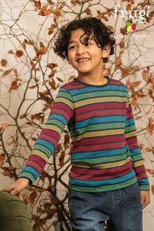 Tęczowa koszulka Frugi z długim rękawem w granatowe paski z bawełny organicznej