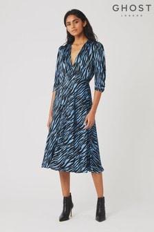 Ghost London Blue Lissa Blue Zebra Print Satin Dress