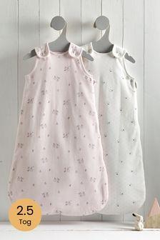 2 Pack Bunny Floral 2.5 Tog Sleep Bags