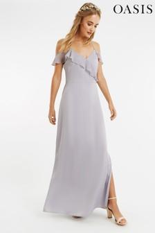 Oasis Grey Ruffle Satin Maxi Dress*