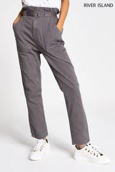 River Island Grey Dark Petra Paperbag Trousers
