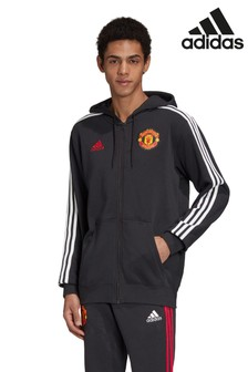 adidas Black Manchester United Zip Through Hoody