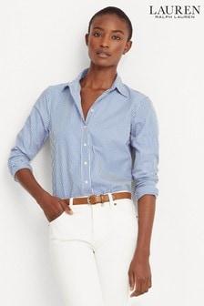 חולצה שלLaurenRalph Lauren® דגם Jamelko עם פסיםבלבן וכחול