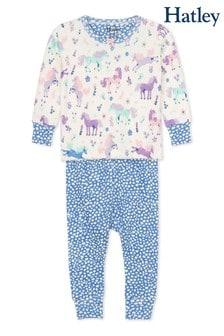 סט פיג׳מה מכותנה אורגנית לתינוקות והדפס סוסי פוני משחקים בצבע שמנת שלHatley