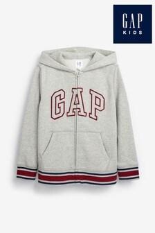 Szara bluza z kapturem zapinana na suwak i logo Gap