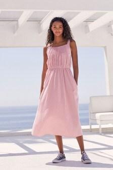Pleat Front Cami Dress