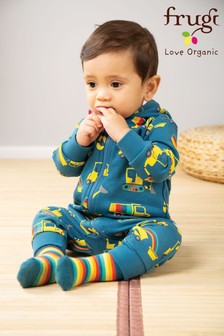 Frugi GOTS Organic Navy Brushback All-In-One With Truck Print