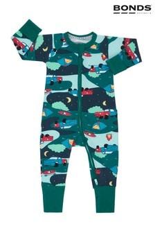 Pijama întreagă cu fermoar Bonds verde