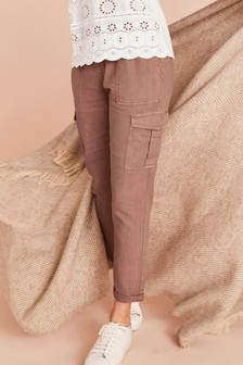 Pantaloni de trening cargo din in