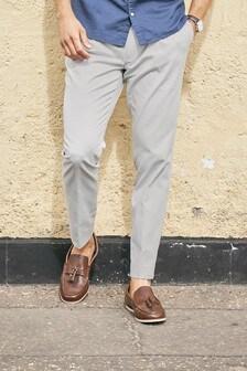 Pantalon chinoen coton stretch plissé