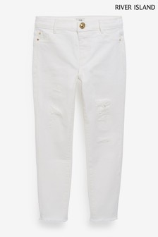 River Island White Ripped Knee Molly Jeggings