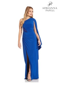 Adrianna Papell Blue One Shoulder Jersey Gown