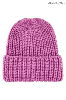 Accessorize Pink Bea Chunky Turn-Up Beanie