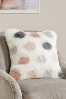 Polka Dot Faux Fur Cushion