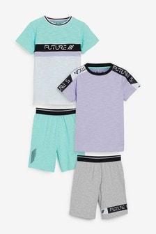 Пижамные комплекты с шортами пастельных тонов, 2 шт. (3-16 лет)