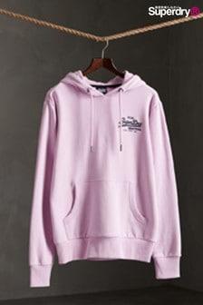 Superdry淡紫色小字標語連帽上衣