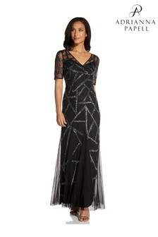 Adrianna Papell Black Beaded Covered Gown