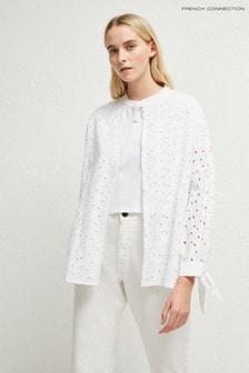 Biela košeľa ku krku French Connection z dierkovanej čipky