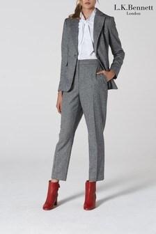 L.K.Bennett Grey Frances Cigarette Wool Trousers