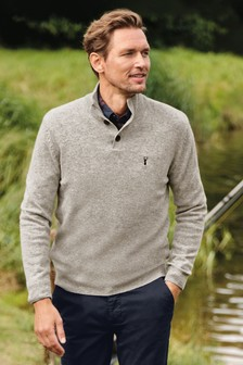 Signature Pullover aus Lammwollemit Knopfleiste