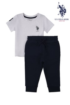 Biały zestaw U.S. Polo Assn Player 3: T-shirt i joggersy