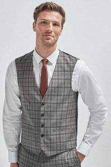 חליפה משובצת בגזרה רגילה: וסט