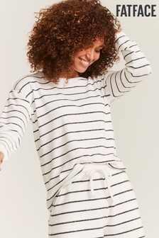 FatFace Natural Weston Stripe Rib Crew Top