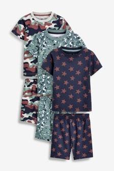 Набор из 3 пижам с шортами (с камуфляжным принтом/с эффектом брызг краски/др.) (9 мес. - 12 лет)