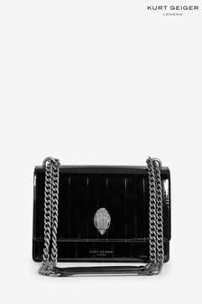 حقيبة تعلق حول الجسم سوداء لامعةShoreditch منKurt Geiger London