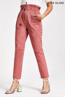 River Island Pink Dark Petra Paperbag Trousers