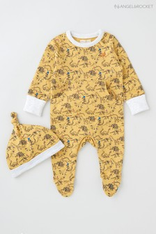 Angel & Rocket Yellow Dinosaur Print All-In-One With Hat