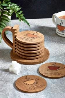 Set of 8 Tea Coasters In Holder